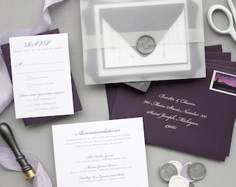 Silver Foil and Purple Invitations for Michigan Wedding, Wax Seal and Vellum Invitations in Eggplant   SAMPLE   Rosemary