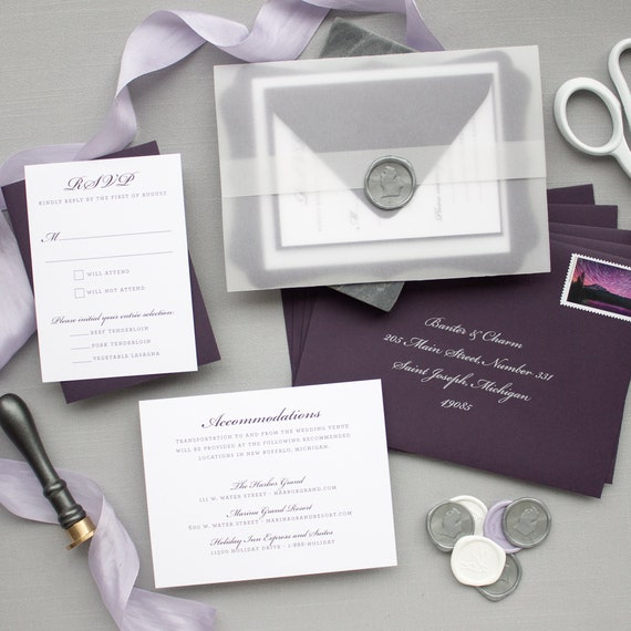 Silver Foil and Purple Invitations for Michigan Wedding, Wax Seal and Vellum Invitations in Eggplant | SAMPLE | Rosemary