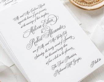 Formal Elegant Wedding Invitations in Letterpress, Traditional Invitations for Southern Brides   SAMPLE   Formal Script