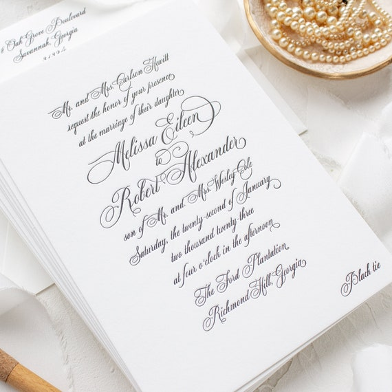 Formal Elegant Wedding Invitations in Letterpress, Traditional Invitations for Southern Brides | SAMPLE | Formal Script