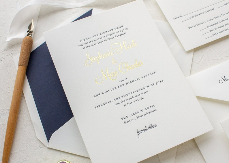 Letterpress Wedding Invitations.Custom Letterpress Wedding Invitation Gold And Navy Invitations Gold Foil Invites Sample Stephanie