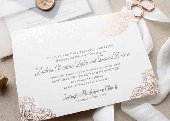 Rose Gold Foil Invitations, Custom Letterpress Wedding Invites, Rose Gold Foil Stamp and Letterpress Invitation | SAMPLE | Andrea