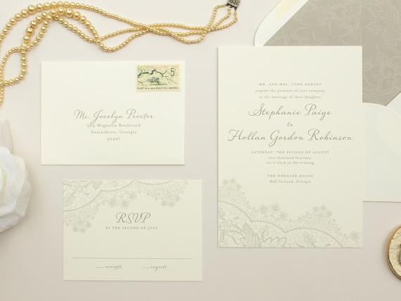 Romantic Wedding Invitations, Vintage Lace Invite, Neutral Colors, Grey Invitation, Wedding Invite SAMPLES | Harmony