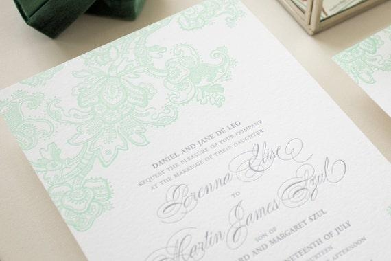 Letterpress Wedding Invitations, Mint Wedding Invite, Elegant Lace Letterpress Printing Invitation Suite, Letterpress SAMPLES | Besotted