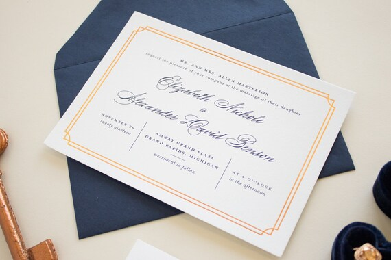 navy and copper foil stamped wedding invitations typographic etsy