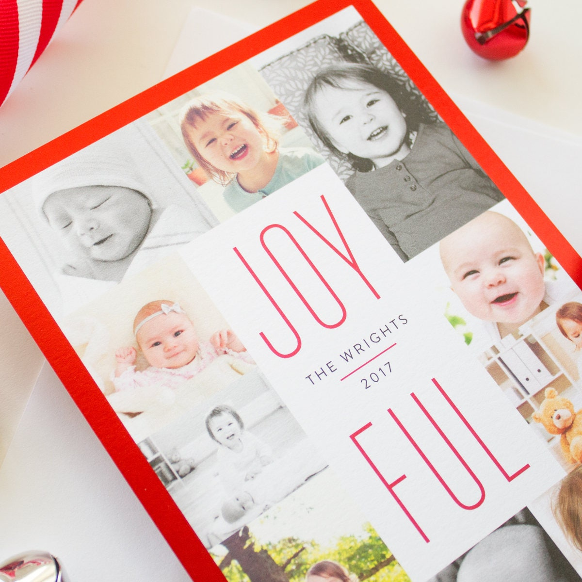 Christmas Cards with Red Foil Border, Multi Photo Christmas Cards ...