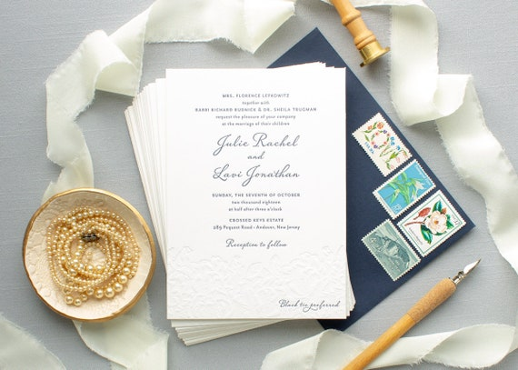 Custom Wedding Invitation with Blind Letterpress, Navy Wedding Invitations, Floral Letterpress Invites | SAMPLE | Julie