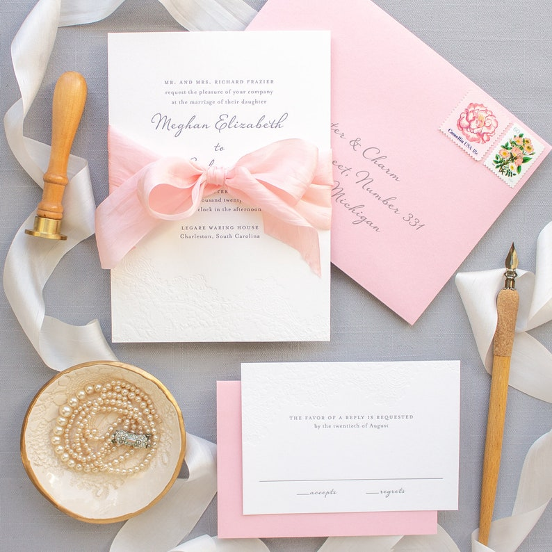 Letterpress Wedding Invitation Blind Deboss With Silk Ribbon On 2 Ply Cotton Paper Custom SAMPLES