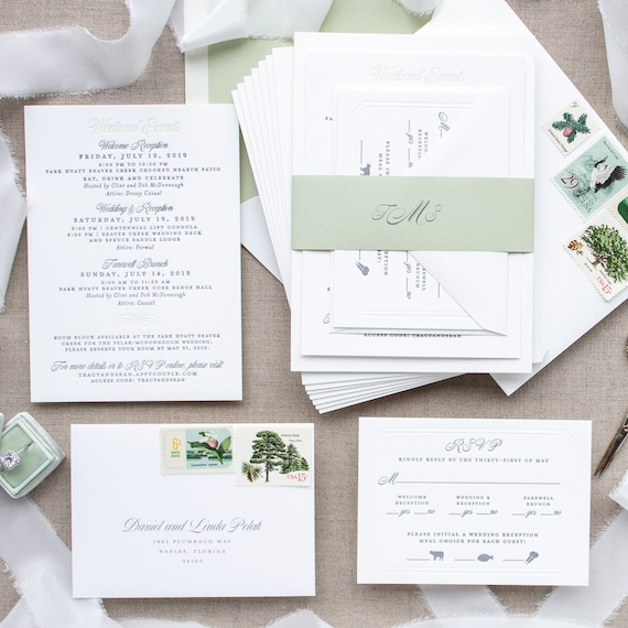 Mountain Wedding Invitations in Sage and Gray, Custom Invitation Suite on Thick Paper for Formal Destination Weddings | SAMPLE | Tracy