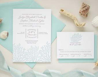 Beach Theme Wedding Invitations, Letterpress Printing, Luxury Destination Wedding Invitations, Custom Beach Invitation Set | Coral Reef