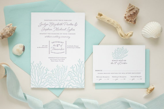 Beach Theme Wedding Invitations, Letterpress Printing, Luxury Destination Wedding Invitations, Custom Beach Invitation Set | Coral Reef