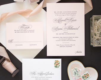 Letterpress Invitations for Classic Weddings, Pink and Black Wedding Invitations, Letterpress Wedding Invites on Pink Paper | SAMPLE