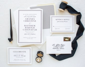 Classic Wedding Invitations for Notre Dame Brides, Black Foil Stamp Invitations for Formal Weddings   SAMPLE   Classic Border