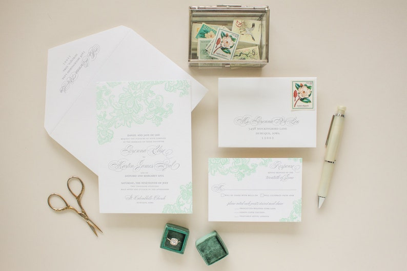 Letterpress Wedding Invitations Mint Invite Elegant Lace Printing Invitation Suite SAMPLES