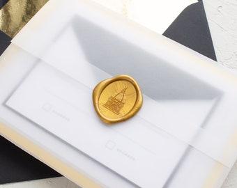 Gold Foil Border Wedding Invitations, Wax Seal Invitations for Notre Dame Wedding, SAMPLES   Bordered