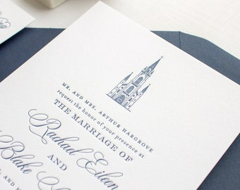 Notre Dame Basilica Wedding Invitation, Custom Venue Illustration Letterpress Invitations | SAMPLE | Basilica