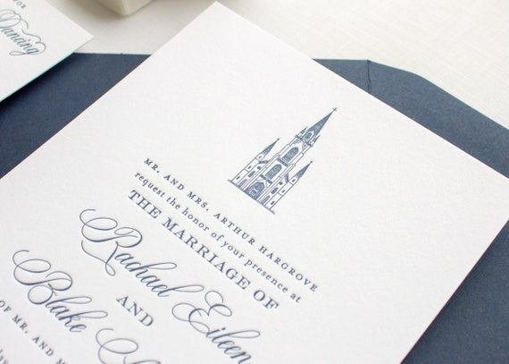 Notre Dame Basilica Wedding Invitation, Custom Venue Illustration Letterpress Invitations | SAMPLE | Basilica