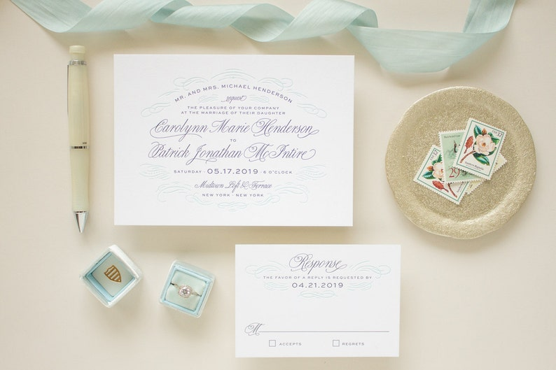 Letterpress Wedding Invitations Navy Printing Blue Edge Painting Invitation Suite Thick Paper Invite SAMPLE
