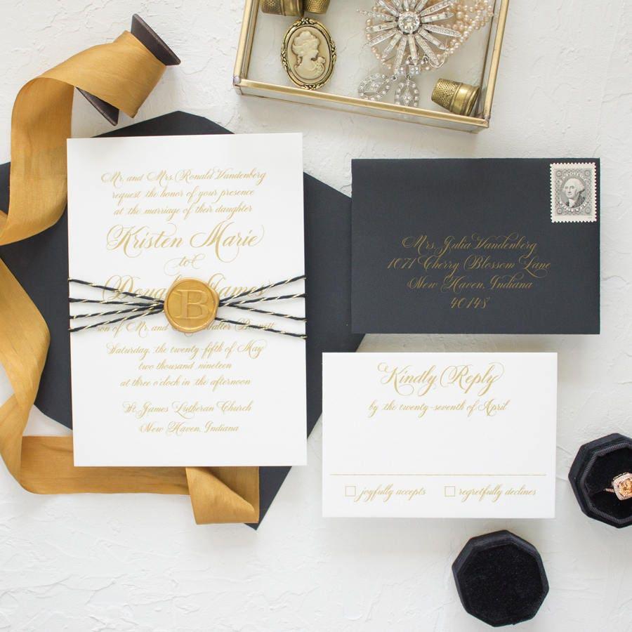 Wax Seal Wedding Invitation Suite Monogram Wax Seal Gold Etsy