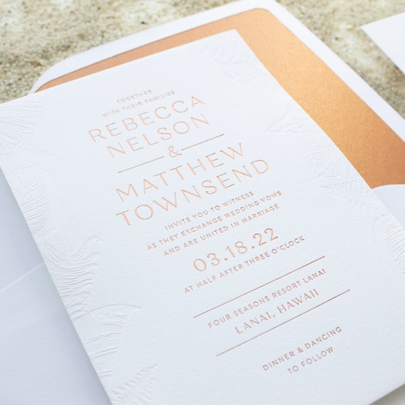 Destination Wedding Invitations, Palm Tree Invitation in Copper Foil, Blind Deboss Border Invitation for Beach Wedding SAMPLE | Palmetto
