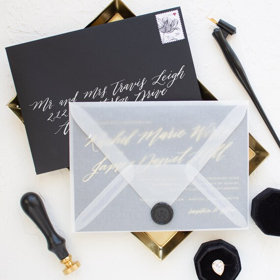 Black and Gold Wedding Invitations, Vellum and Wax Seal Invitation Suite, Custom Calligraphy Invites in Gold Foil | SAMPLE | Soiree