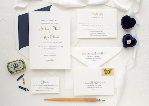 Custom Letterpress Wedding Invitation, Gold and Navy Invitations, Gold Foil Invites | SAMPLE | Stephanie