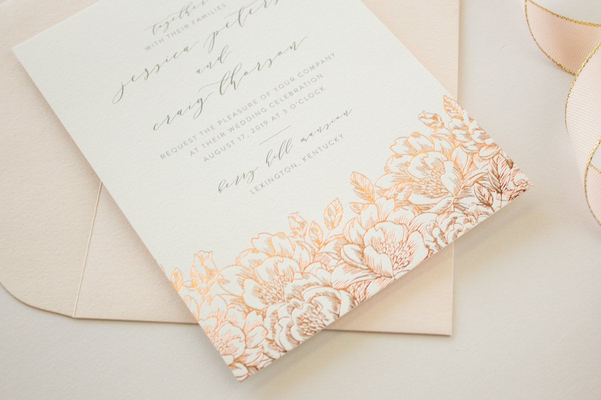 Gold Foil Stamped Wedding Invitations: Foil Stamped Wedding Invitations, Romantic Invitations