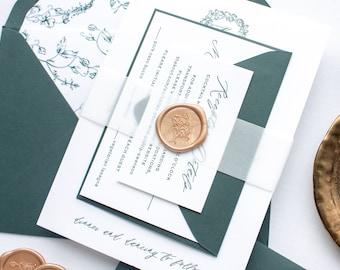 Custom Monogram Invitations in Green Letterpress, Wax Seal Invitation Suite in Letter press Printing | SAMPLE | Kailey