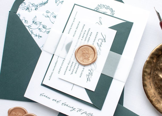 Custom Monogram Invitations in Green Letterpress, Wax Seal Invitation Suite in Letter press Printing | SAMPLE | Kailey
