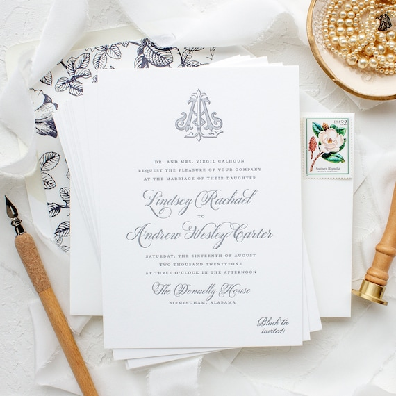 Traditional Letterpress Wedding Invitations with Vintage Monogram Design, Custom Letterpress Invitations | SAMPLE | Classically