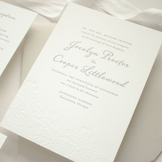 Letterpress Wedding Invitation, Blind Letterpress Invite on 2-Ply Cotton Paper, Custom Letterpress SAMPLES | Harmony