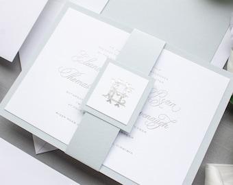 Foil Pressed Wedding Invitations for Traditional Brides, Monogram Invitation in Silver Foil   SAMPLE   Epitome