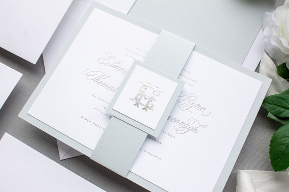 Foil Pressed Wedding Invitations for Traditional Brides, Monogram Invitation in Silver Foil | SAMPLE | Epitome