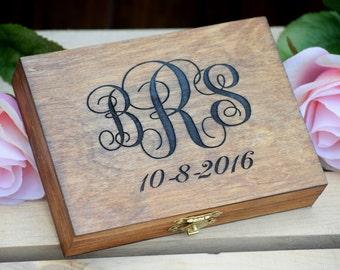 Monogrammed Ring Bearer Box - Shabby Chic Wedding - Ring Bearer Pillow Alternative Personalized Ring Box - Rustic Wedding Wedding Ring Box