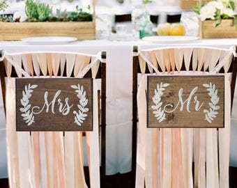 Mr and Mrs Chair Signs - Bride and Groom Chair Signs - Mr and Mrs Signs For Back of Chair - Mr and Mrs Chairs - Better Together Chair Signs