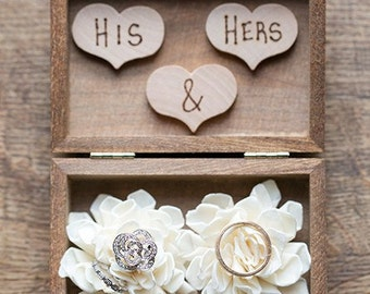 Ring Bearer Box - Shabby Chic Rustic Wedding Decor - Ring Pillow - Personalized Ring Box - Ring Bearer- Wedding Ring Box - Box for Rings