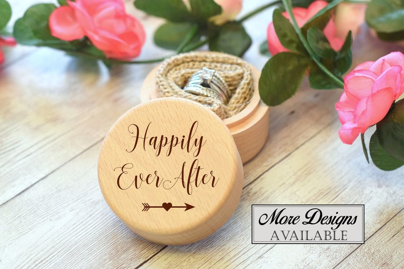 Wooden Ring Box Engraved Wedding Ring Box Personalized Ring Box Engraved Wooden Box Ring Bearer Box Happily Ever After Ring Box