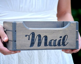 Mail Holder - Mail Organizer - Rustic Mail Holder - Wood Mail Holder - Housewarming Gift - Personalized Gift - Rustic Office - Storage Box