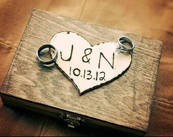 Ring Bearer Box - Shabby Chic Rustic Wedding Decor - Ring Bearer Pillow Alternative - Personalized Ring Box Ring Holder Wedding Ring Pillow