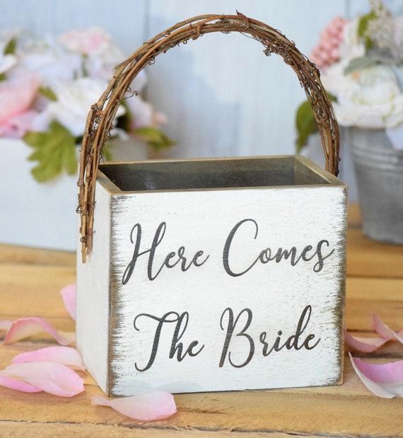 Here Comes The Bride Wood Basket Wedding Keepsake Gift