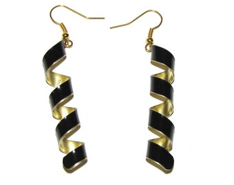 Black and Gold Spiral Brass Earrings