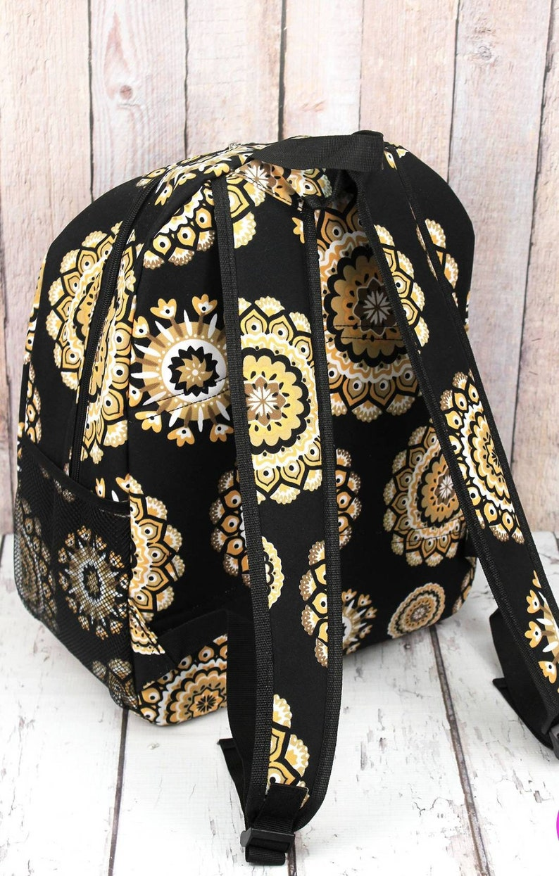 Large Mandala Black and Gold Patterned Backpack