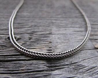 Bali Chain, Sterling Silver Chain, 925 Chain, Oxidized Chain, Dragon Bone Chain, 30 Inch Chain, 2mm Chain, Tribal Chain, Bali Necklace