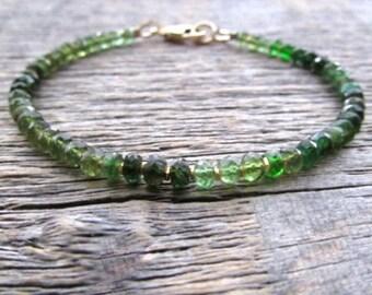 Ombre Tourmaline Bracelet, Green Tourmaline Bracelet, Gemstone bracelet, Bead Bracelet, Chakra Bracelet, October Birthstone Bracelet, Gift