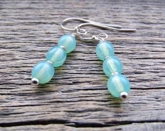 Vintage Glass Earrings, Vintage Earrings, Glass Dangle Earrings, Blue Drop Earrings, Boho Earrings, Czech Glass, Women's Earrings, Teen Gift