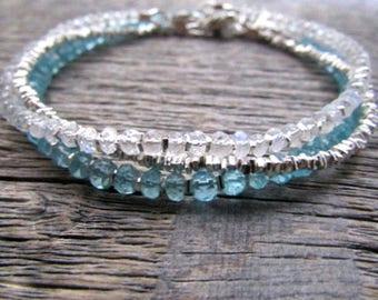 Rainbow Moonstone Bracelet, Moonstone Bracelet Silver, June Birthstone Bracelet, Hill Tribe Bracelet, Moonstone Jewelry, Gemstone Bracelet