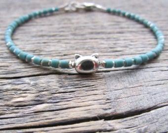 Cat Bead Bracelet, Cat Donation Bracelet, Cat Bracelet, Silver Cat Bracelet, Kitty Bracelet, Cat Jewelry, Cat Gift, Cat Lady Gift, Mom Gift