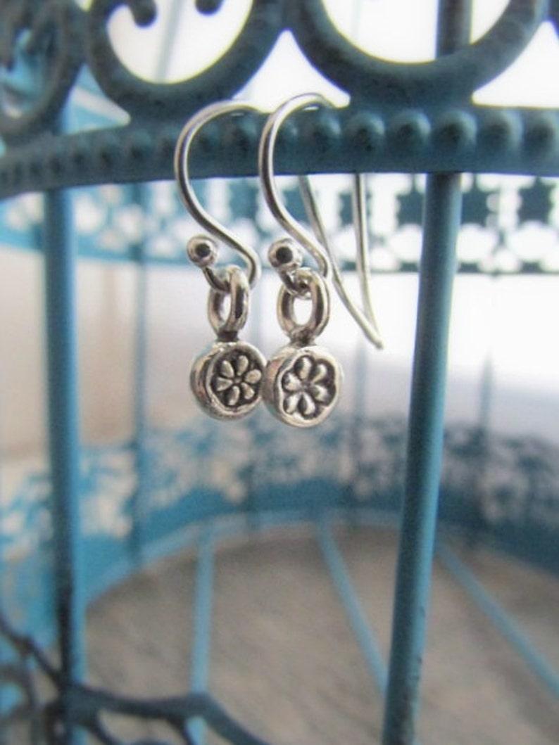 Flower Dangle Earring Teen Earrings Flower Jewelry Silver Flower Earrings Drop Earring Hill Tribe Silver Earrings Flower Charm Earring