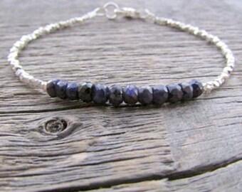 Sapphire Bracelet, September Birthstone Bracelet, Gemstone Bracelet, Bead Bracelet, Stack Bracelet, Sapphire Jewelry, Hill Tribe Bracelet