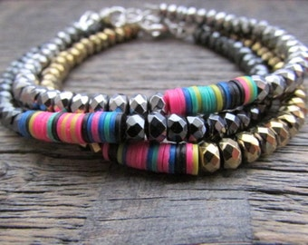 African Bead Bracelet, Bead Stack Bracelet, Boho Bracelet, Hematite Bracelet, Beaded Bracelet Stack, Beaded Bracelet Set, African Bracelet